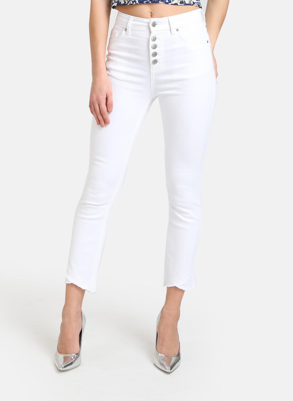 BUTTON DETAILED JEANS  WITH CROSS FRINGE HEM