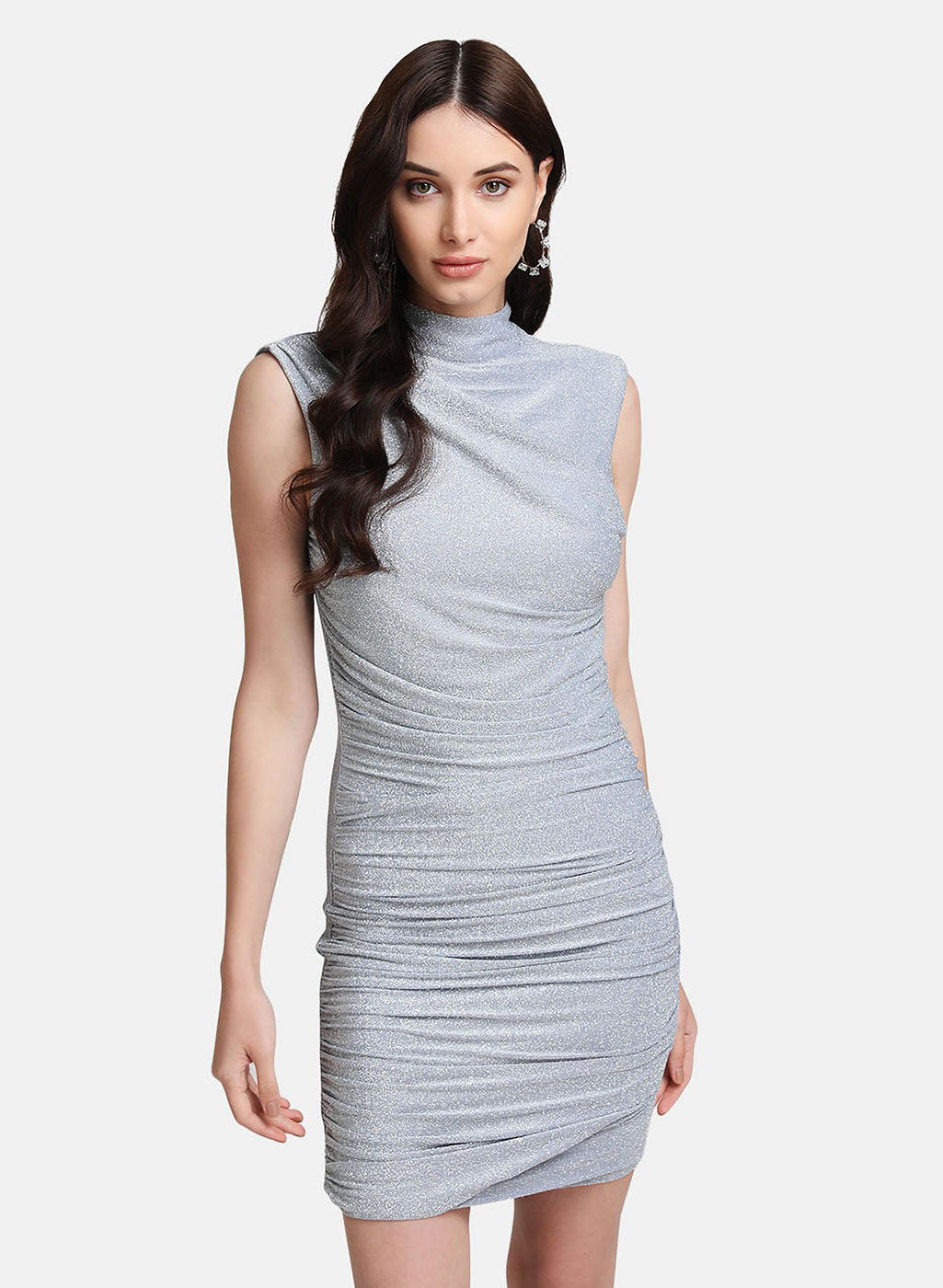 Lurex Stretchable Dress With Gathers At Side