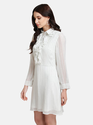 Lurex Striped Mini Dress With Ruffles