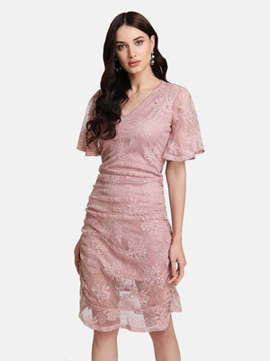 V-NECK RUCHED LACE DRESS