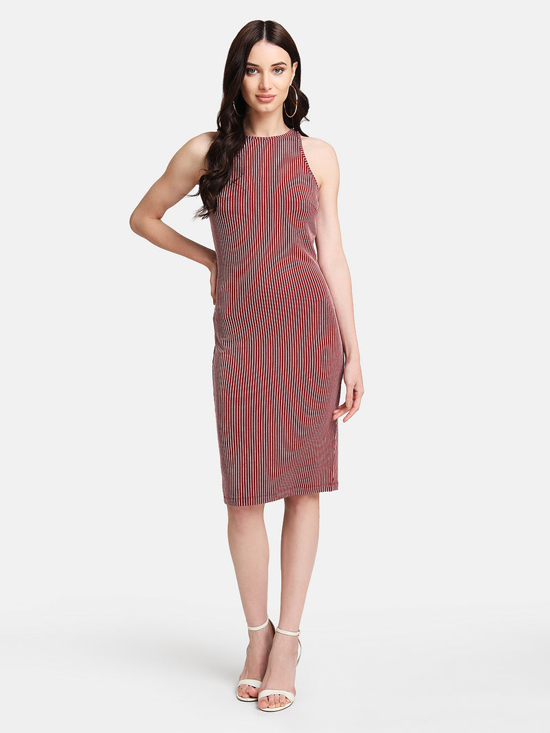 Stretchable Striped Midi Dress