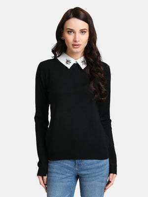 Embellished Collar Pullover