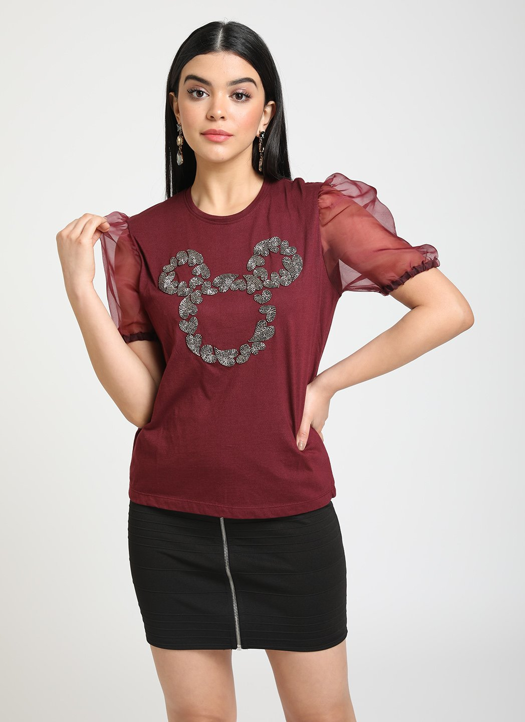 MICKEY MOUSE  © DISNEY SEQUIN TOP WITH ORGANZA SLLEVES