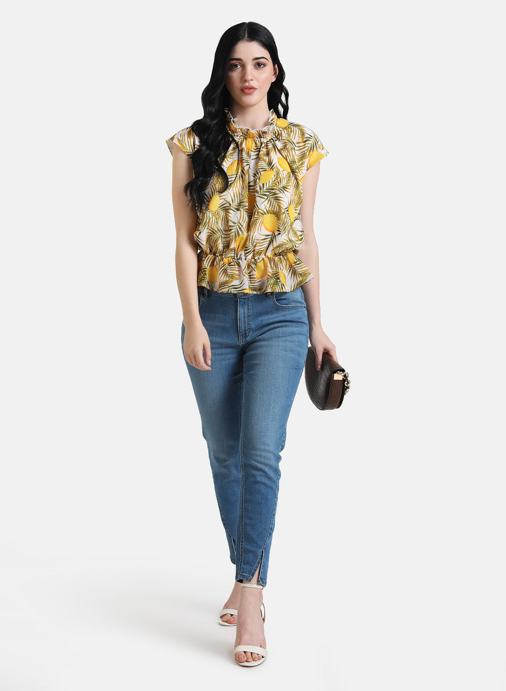 LEMON PRINT RUFFLE DETAIL TOP