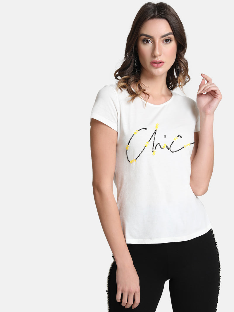 Chic Flower Embellished T-Shirt