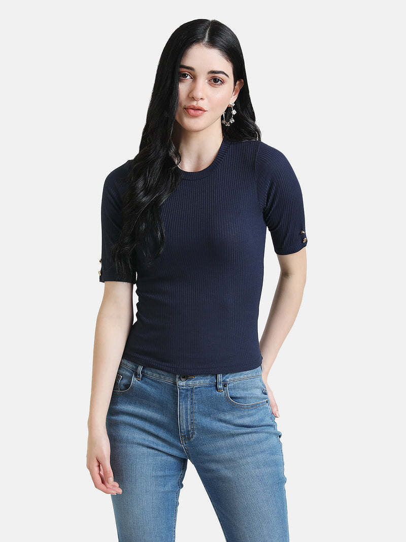 Round Neck Top With Button Detail