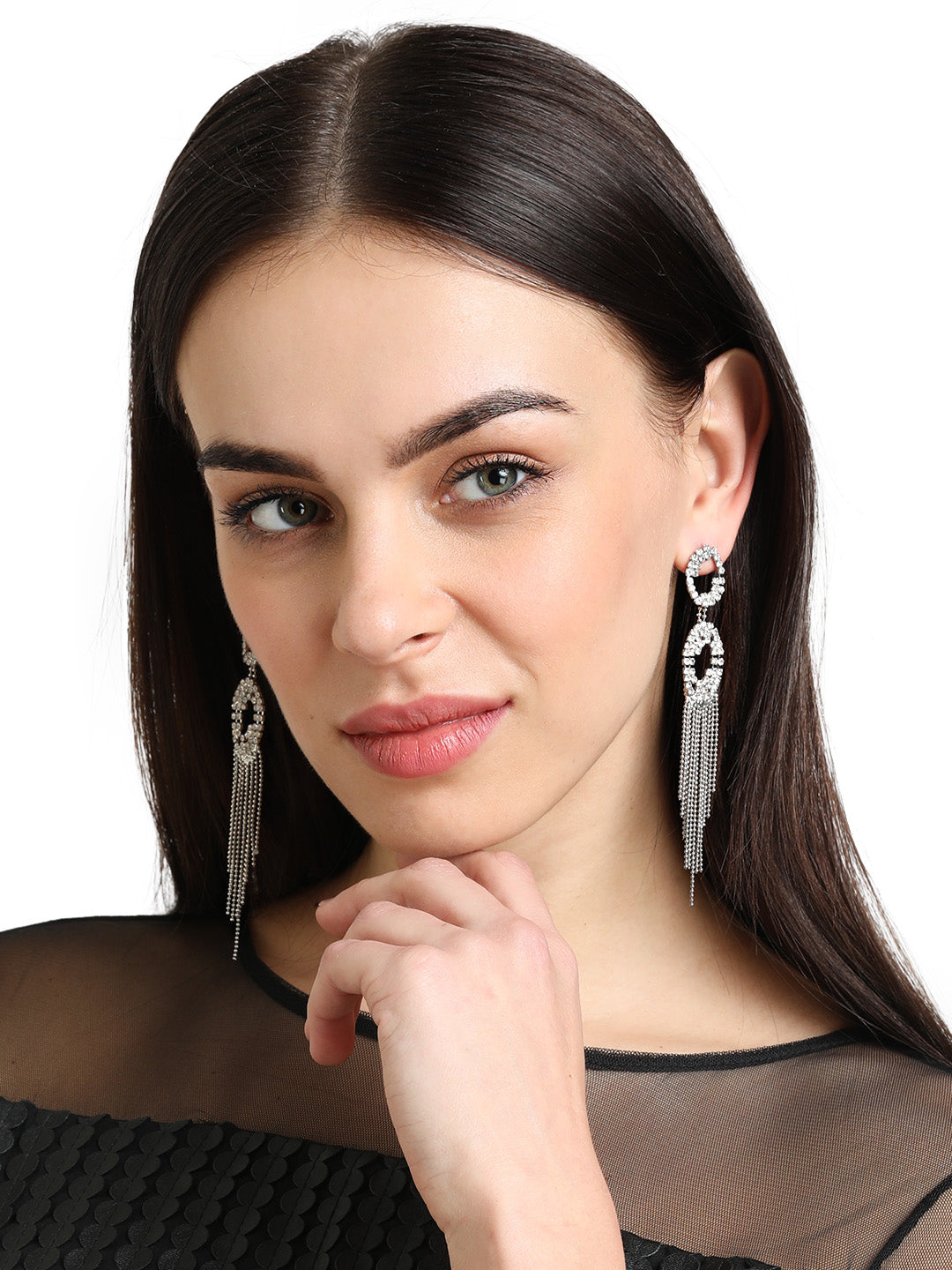 SILVER FRINGES EARRING