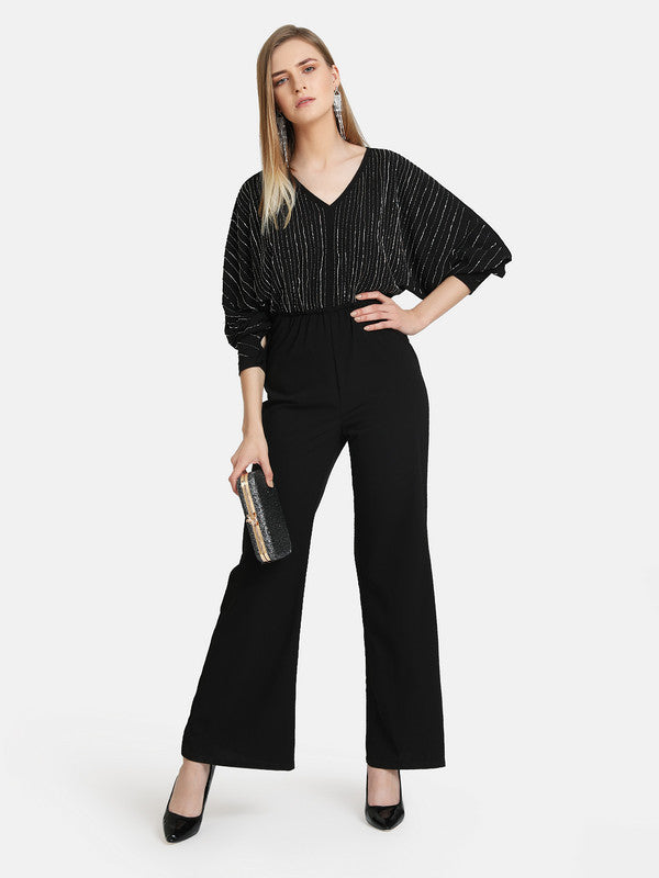 EMBELLISHED JUMPSUIT WITH  BATWING SLEEVE