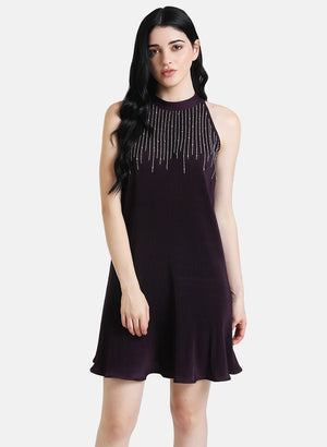 Pleated Mini Dress With Embellishment