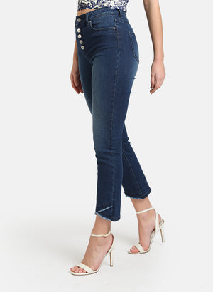 BUTTON DETAILED DENIM WITH CROSS FRINGE HEM