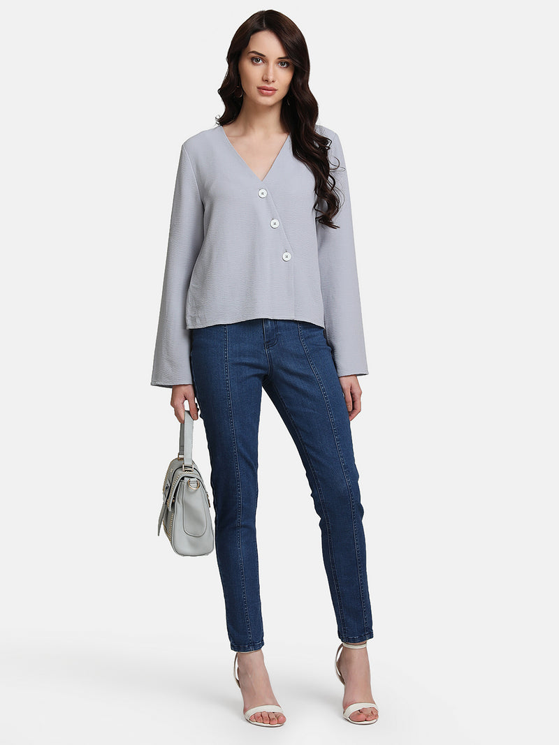 V-Neck Top With Diagonal Placket