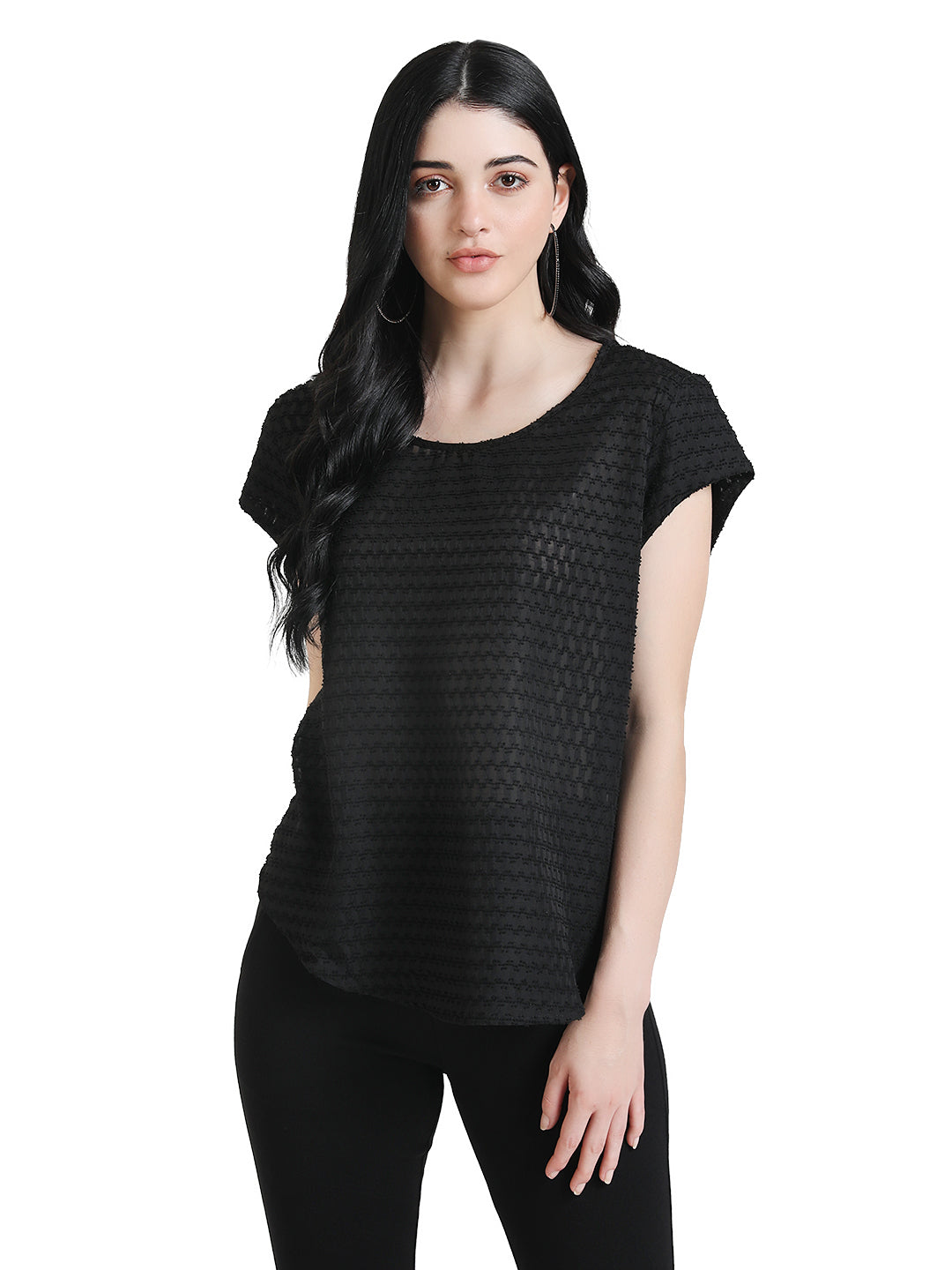 Boxy Fit Textured Top