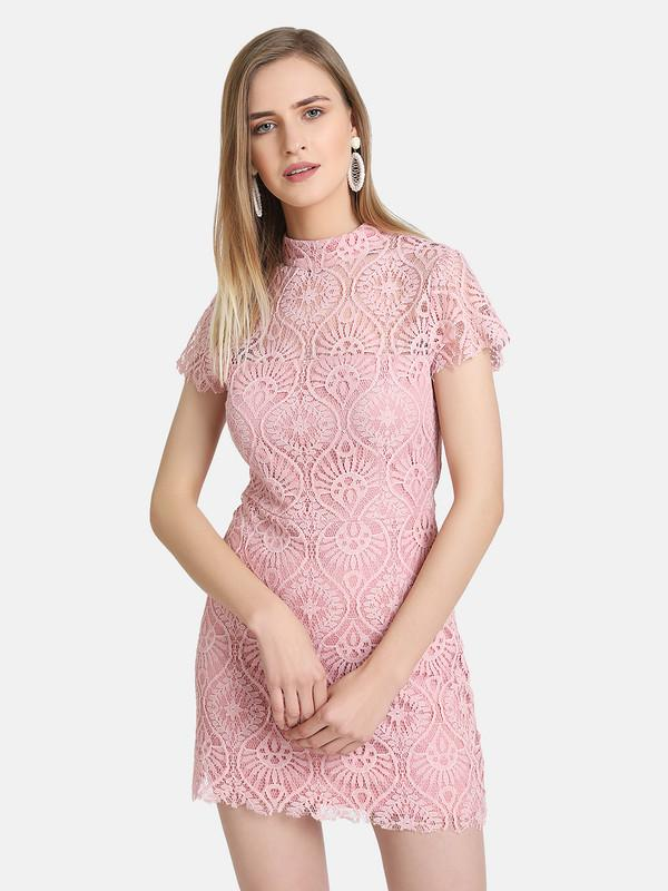 Embossed Lace Mini Dress