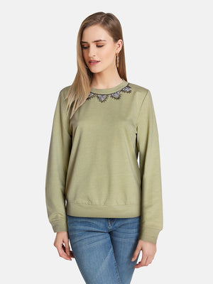 NECK EMBELLISHED PULLOVER