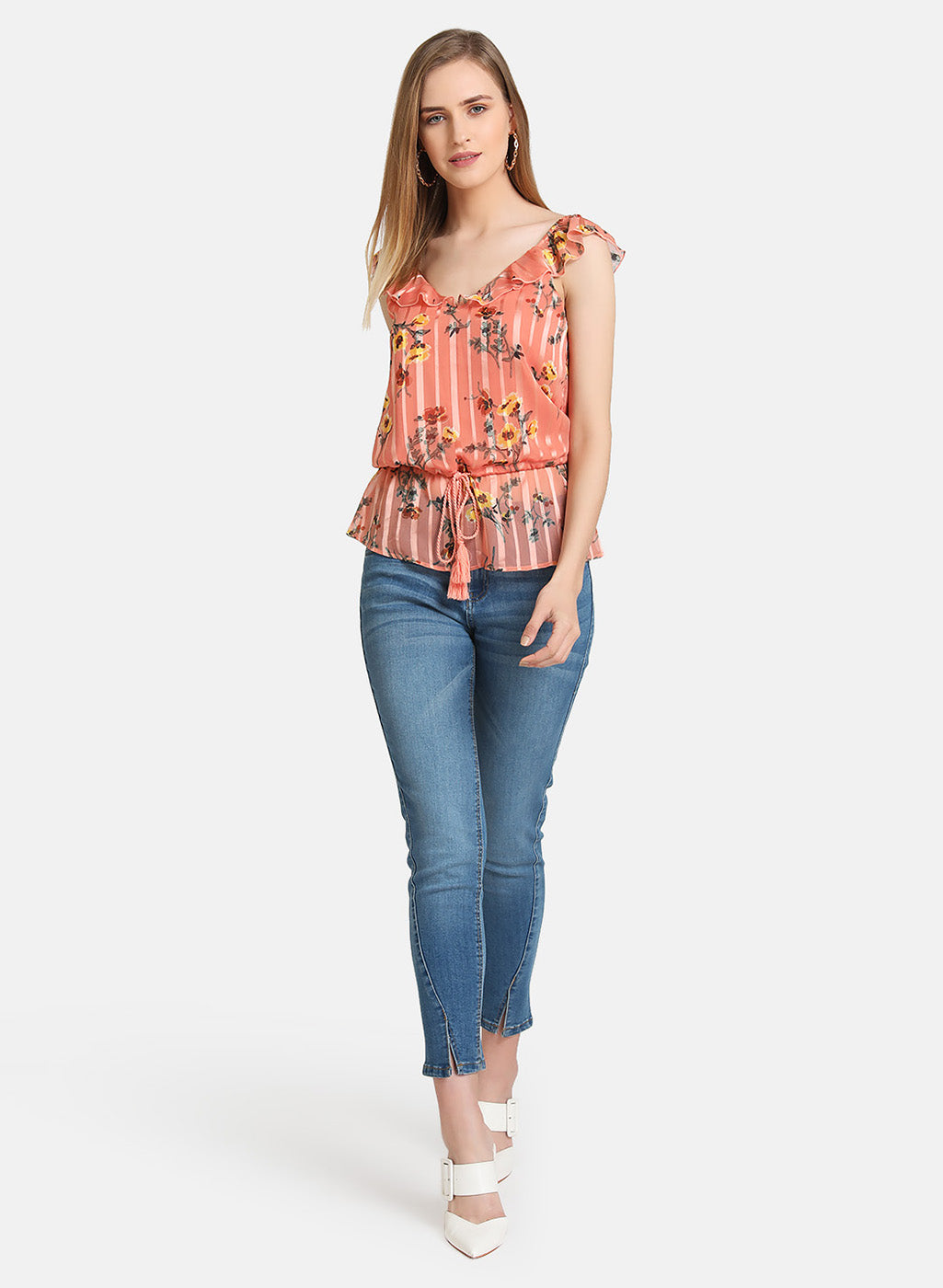 RUFFLE DETAIL TOP WITH DRAWSTRING