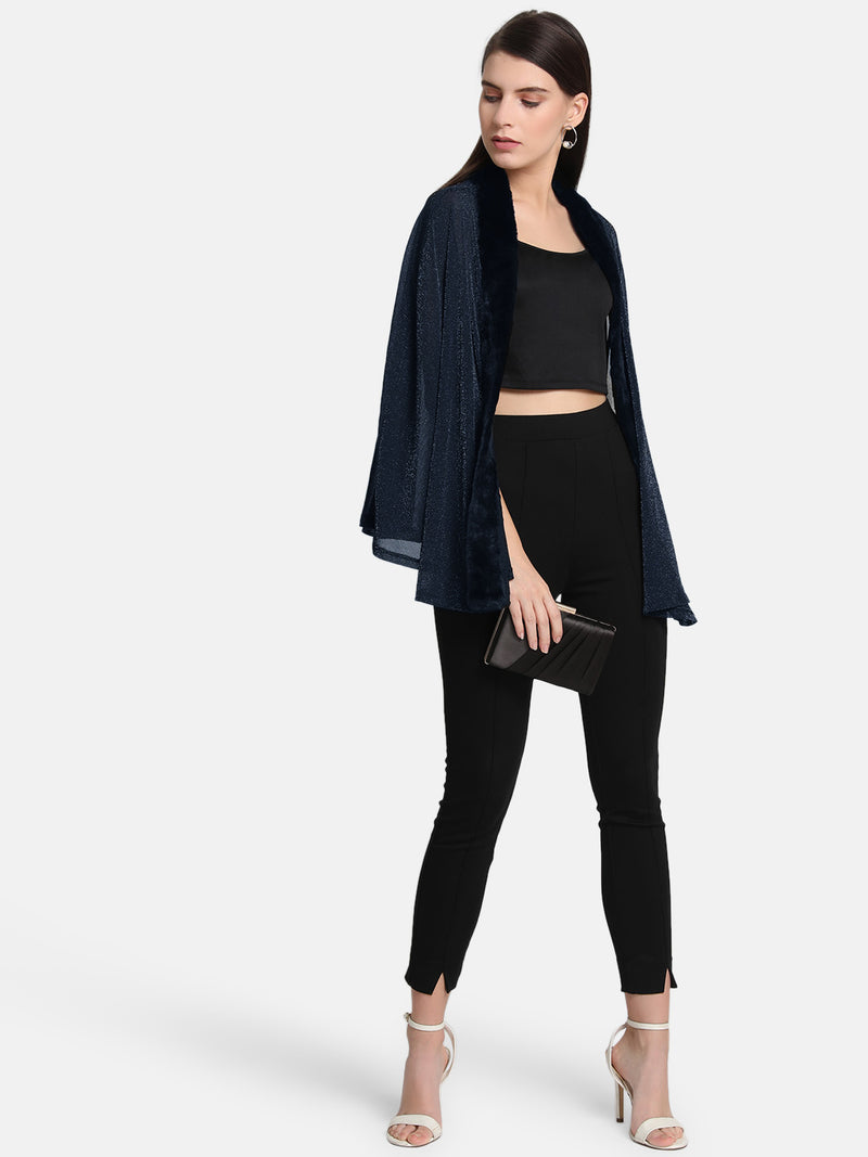 Fur Trim Lurex Mesh Cape