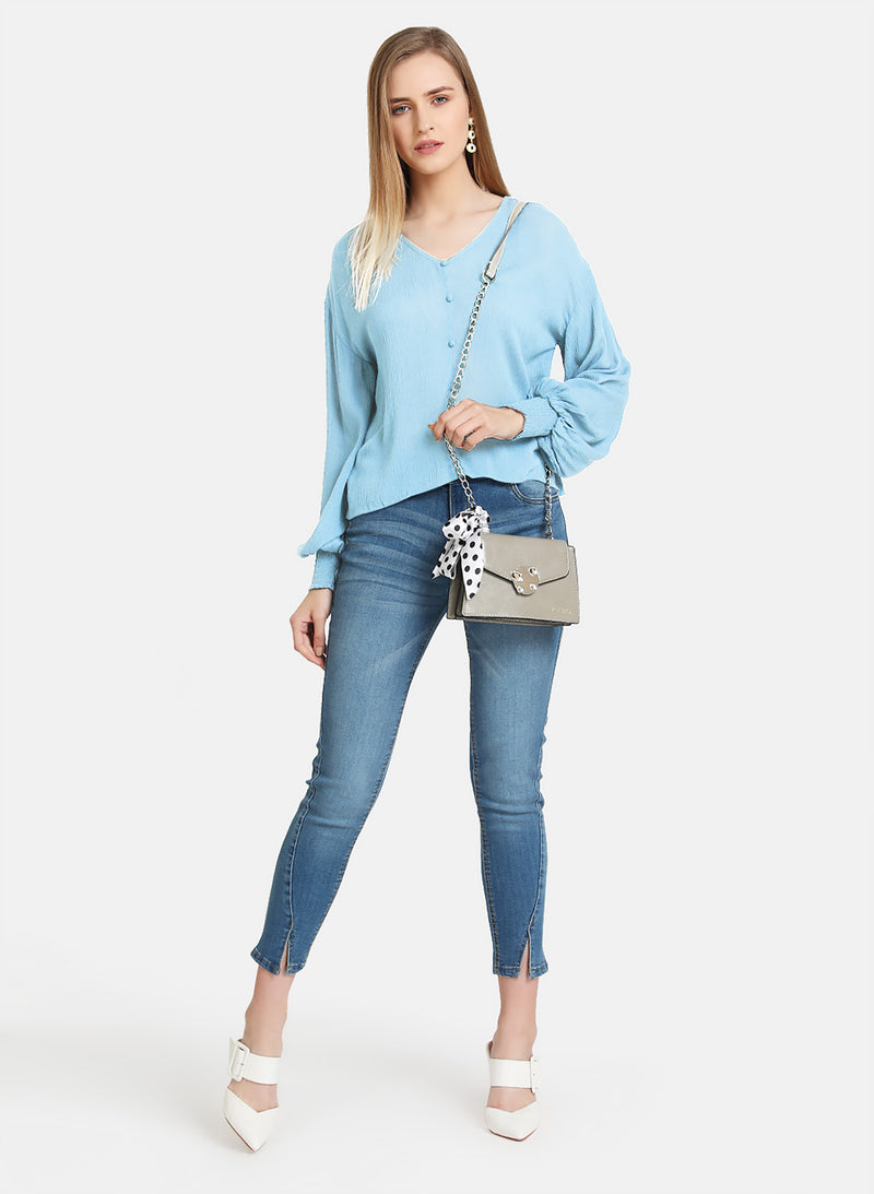 Button Down Top With Elasticated Hem Sleeves
