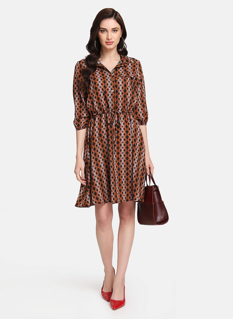 Printed Midi Dress With Draw String Detail
