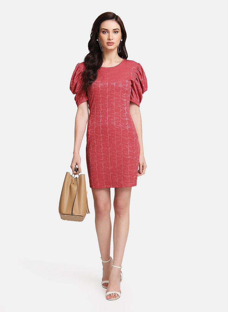 Self Textured Jaquard Puff Sleeved Dress