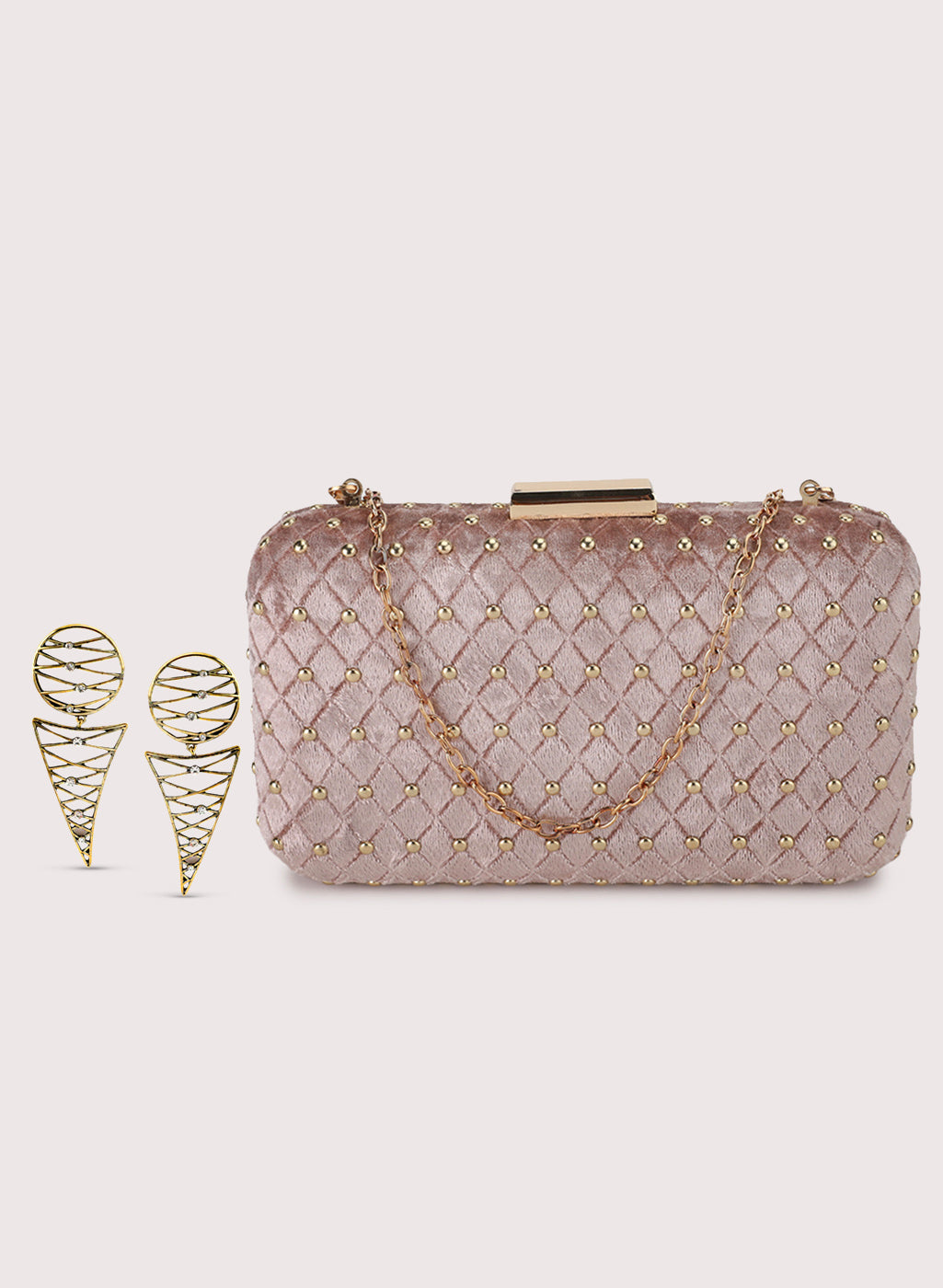Studded Clutch Bag With Earring Set