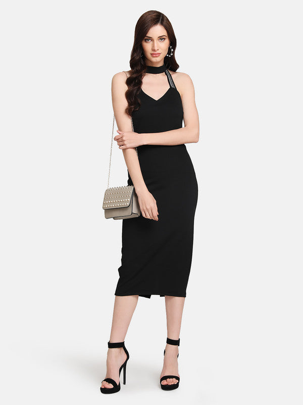 MIDI DRESS WITH EMBELLISHED STRAPS