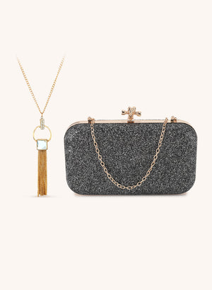 Metallic Clutch Bag With Necklace Set