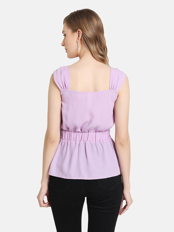 Peplum Overlap Top With Buckle Detail