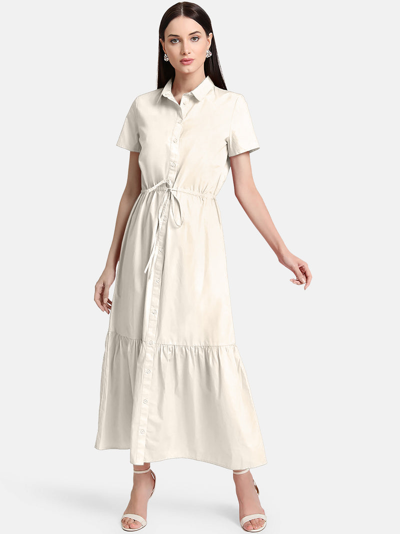 Tiered Shirt Dress With Drawstring