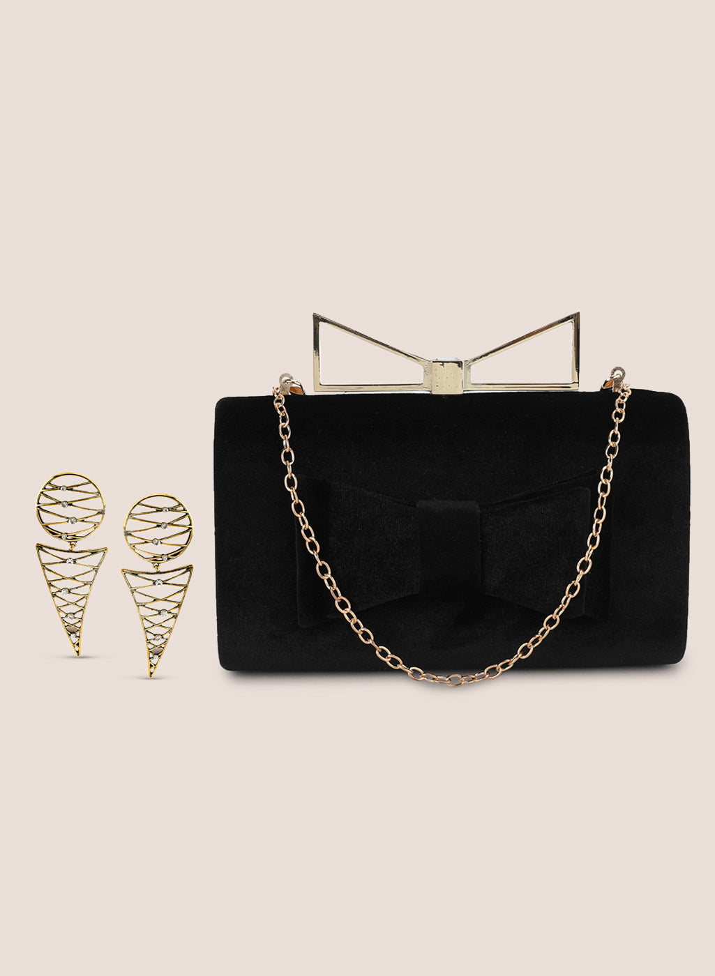 Bow Clutch Bag With Gold Earring Set
