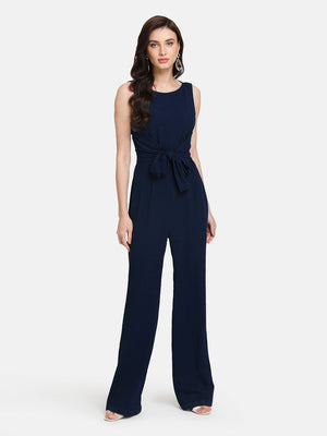 BASIC SLEEVELESS JUMPSUIT WITH FRONT TIE UP
