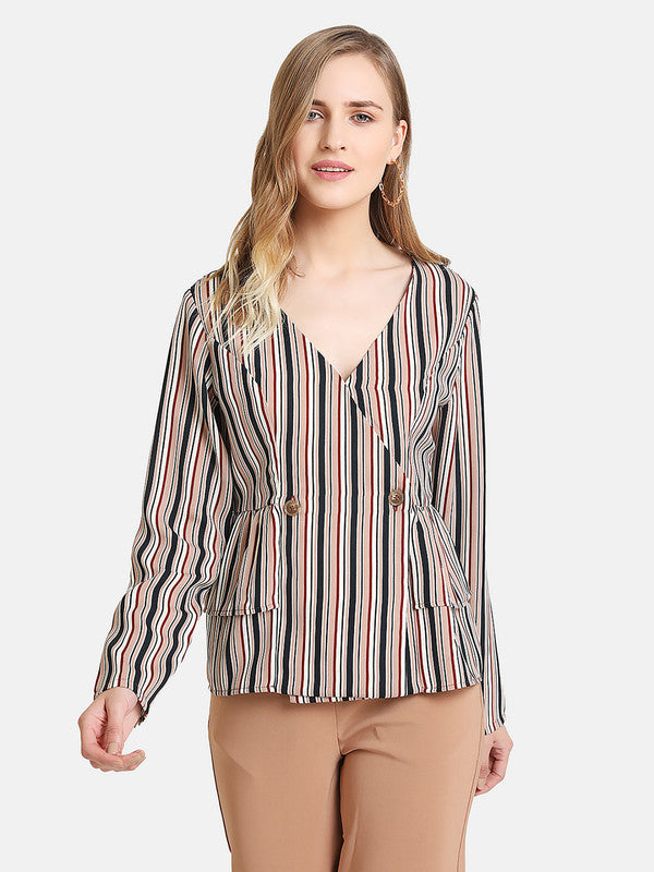 STRIPE TOP WITH LAYERED PEPLUM