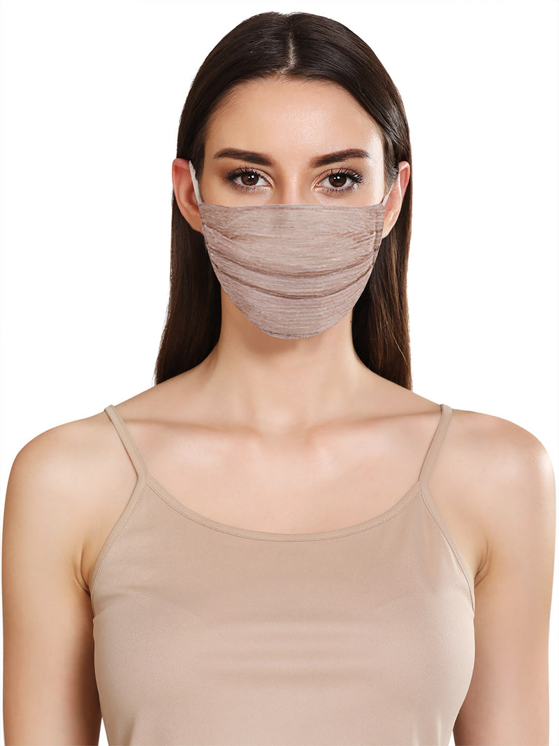 SHINY LUREX LAYERED FACE MASK WITH FRONT PLEATS