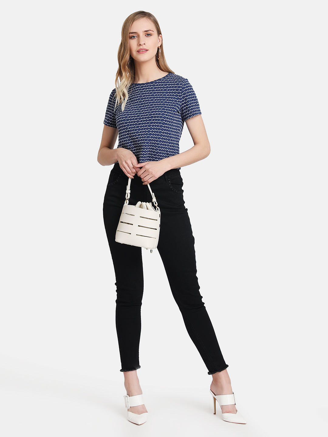 STRIPED RIB T-SHIRT