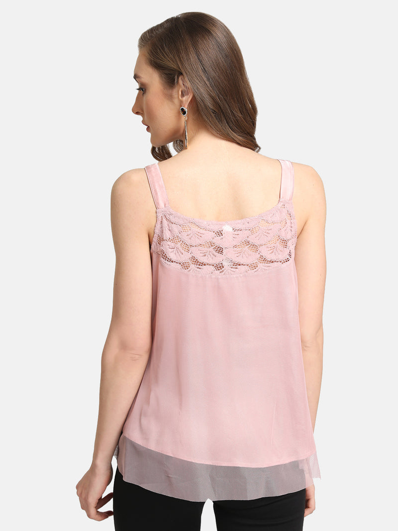 Lace Yoke Detail Top With Straps