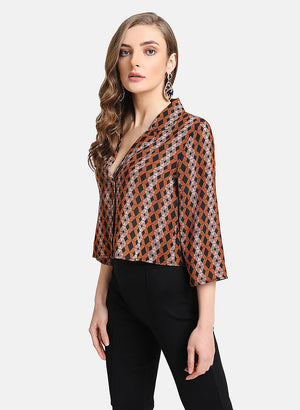 Printed Notch Collar Crop Shirt