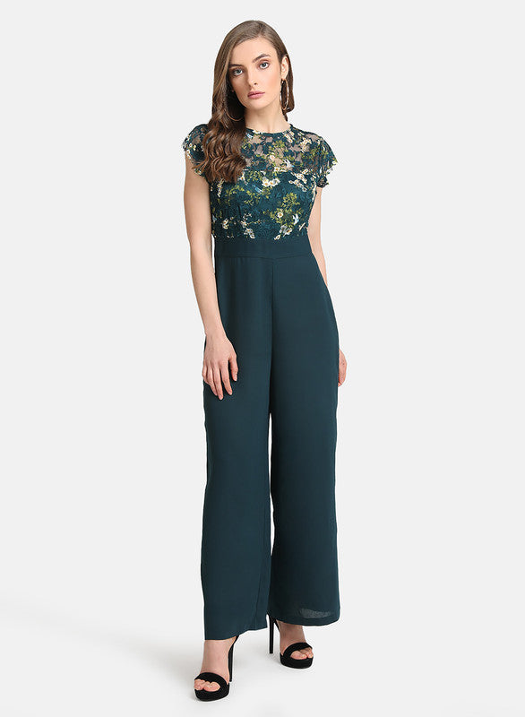 Jumpsuit With Stretch Lace Bodice