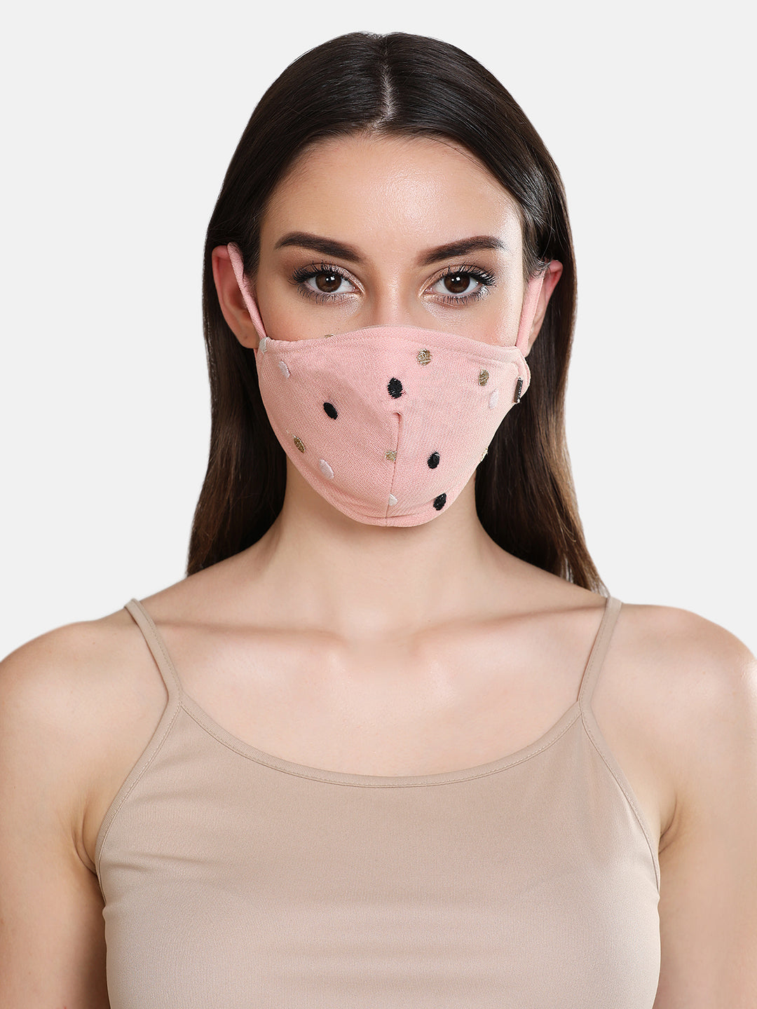 Embroidered Polka 3 Layer Stretchable Face Mask