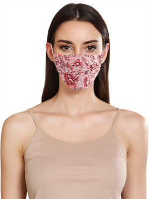Floral Print Layered Face Mask With Front Pleats