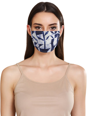 Abstract Print Layered Face Mask With Front Pleats