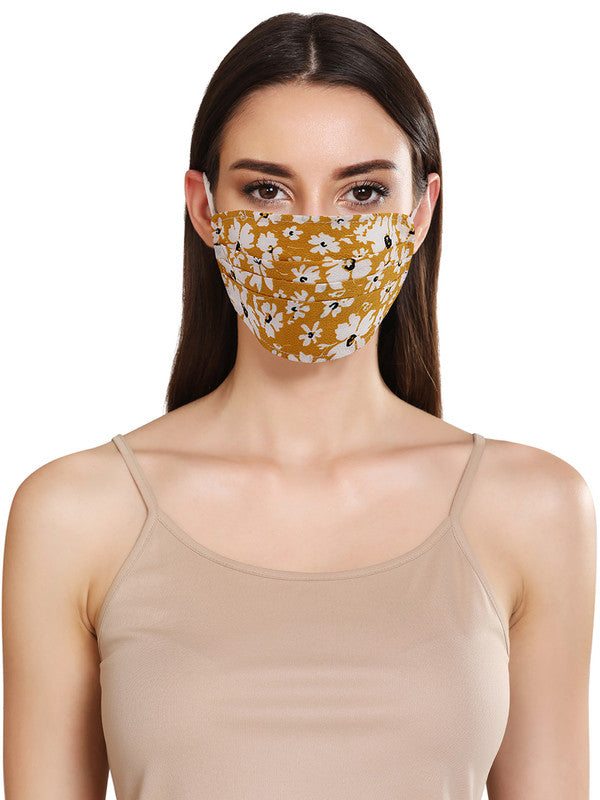 Floral Printed Layered Face Mask With Front Pleats