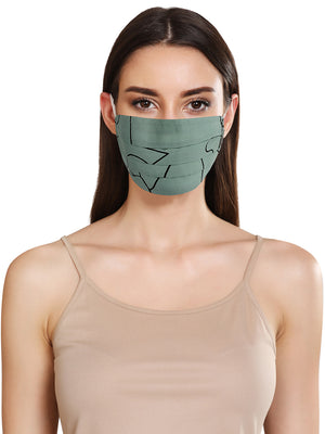 Line Print Layered Face Mask With Front Pleats
