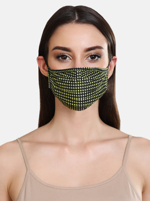 Check Printed Woven 2 Layer Face Mask