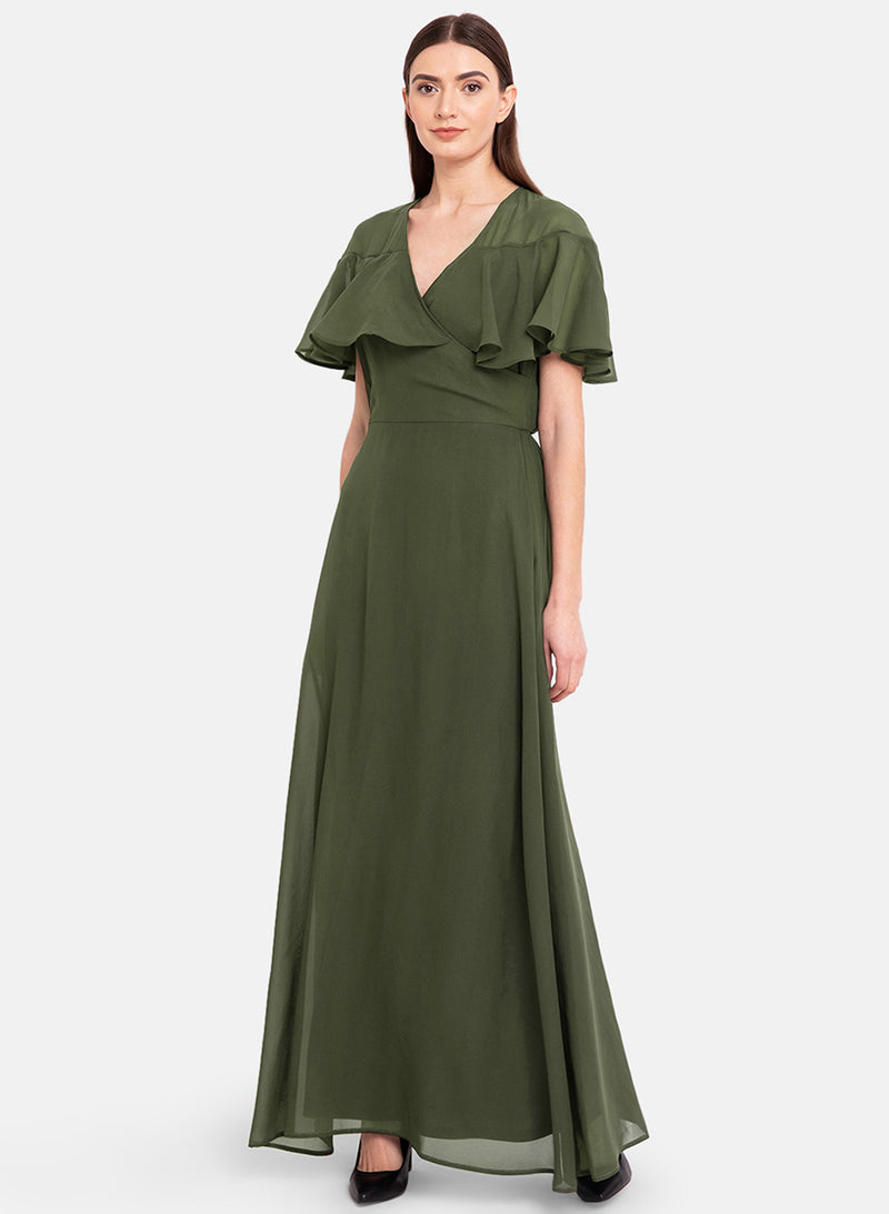 Cape Sleeves Maxi Dress