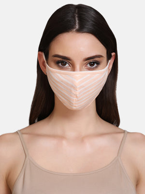 Striped Cotton Jersey 3 Layer Face Mask