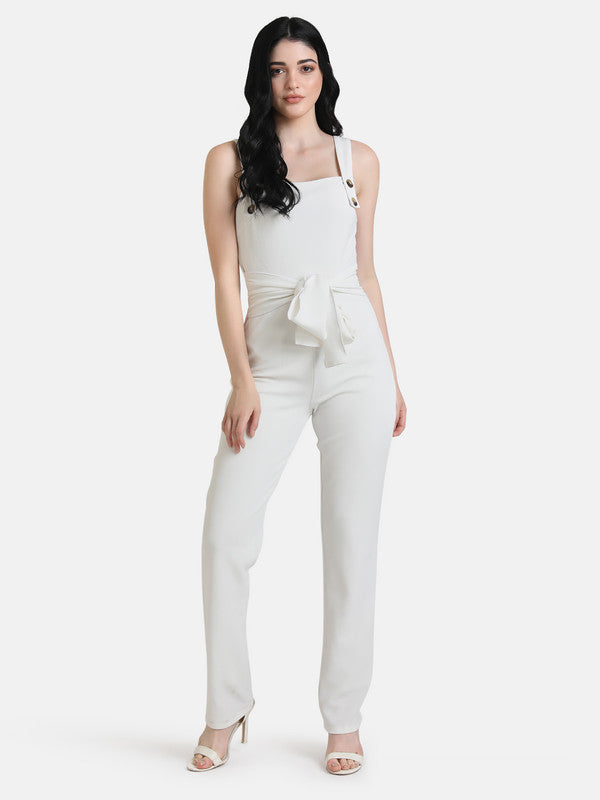 JUMPSUIT WITH BUTTON DETAILED STRAPS & TIE-UP
