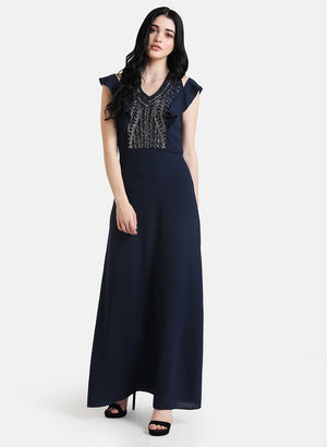 Embellished Maxi Dress With Ruffles