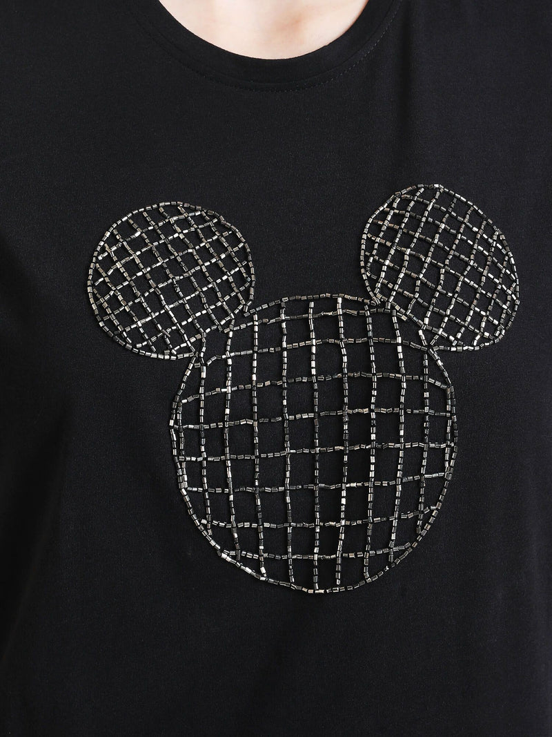 Mickey Mouse © Disney Sequin Top With Organza Sleeves