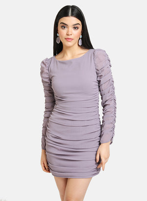 RUCHED DRESS WITH FULL SLEEVES
