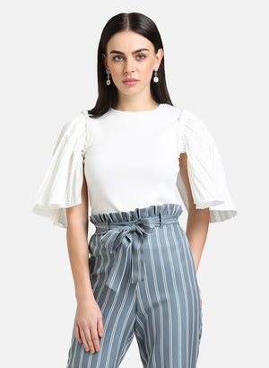 TOP WITH TEXTURED RUFFLE SLEEVES