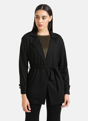 Short Trench Coat With Belt Detail